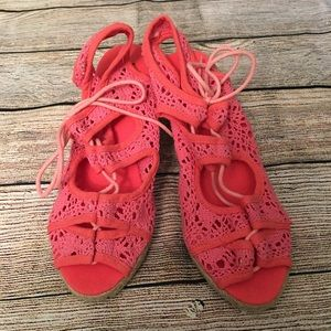 Brand New Coral Pink Lace Espadrilles